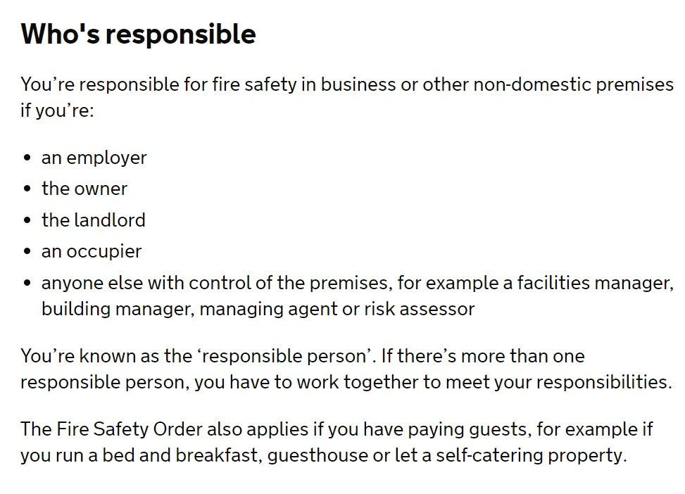 Fire risk assesment responsible person
